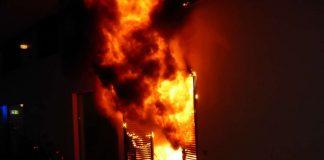 Ein Müllraum brannte in voller Ausdehnung. (Foto: Feuerwehr Mainz)