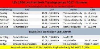 Trainingszeiten 2017 - Sommer (LSV 1864 Leichtathletik )