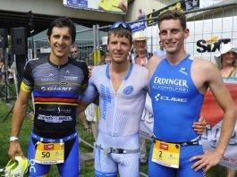 v.l.: Julian Mutterer, Markus Rolli und Florian Angert beim Heidelbergman Triathlon, BASF Triathlon Cup 2017 (Foto: PIX-Sportfotos/ Michael Ruffler)
