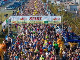 Start an der Messe Karlsruhe (Foto: Fiducia & GAD Baden-Marathon Karlsruhe)