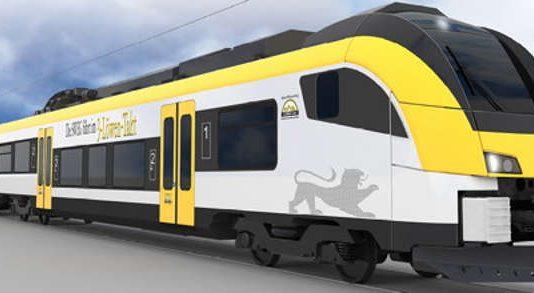 Computeranimiertes Bild einer Vollbahn, wie sie zukünftig zwischen Heilbronn - Bretten und Karlsruhe fahren könnte (Foto: Tricon AG)