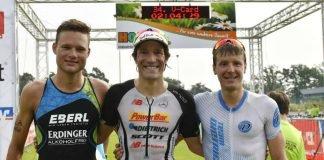 v.l.: Julian Erhardt, Sebastian Kienle und Markus Rolli beim Viernheim Triathlon, BASF Triathlon Cup 2017. (Foto: PIX-Sportfotos)