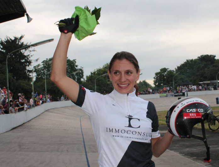 Olympiasiegerin Miriam Welte (Kaiserslautern) gewann das Rundenrekordzeitfahren in Ludwigshafen (Foto: Michael Sonnick)