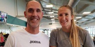 Jennifer Hamson hier bereits bei ihren ersten Trainingseinheiten, mit Co- und Athletiktrainer Christian Sossenheimer (Foto: VCW)