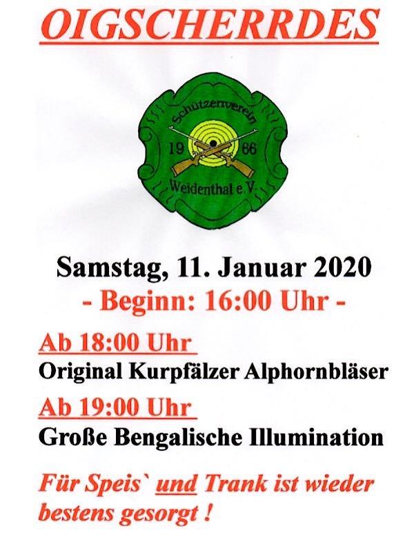 Oischerre am 11. Januar beim Schützenverein Weidenthal