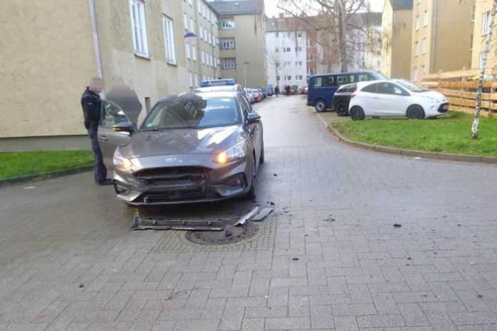 Unfallstelle in der Friedrich-Wöhler-Straße in Kassel am 15.12.2019