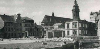 Landau nach dem Bombenangriff: Das Bild aus dem Stadtarchiv Landau zeigt den Bereich Bachgasse/Kronstraße an der Queich. (Foto: Stadt Landau in der Pfalz)