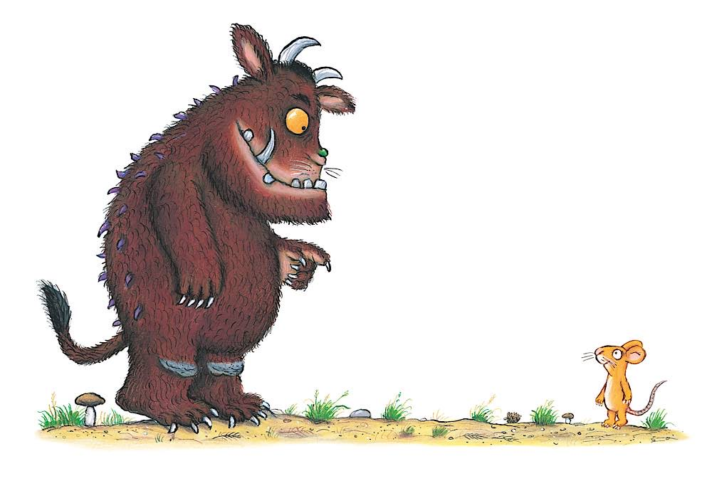"""Der Grüffelo und die Maus treffen aufeinander. Szene aus dem von Axel Scheffler illustrierten Kinderbuch """"Der Grüffelo"""". (Bildnachweis: Julia Donaldson/Axel Scheffler, Lizenz: Magic Light Pictures Ltd.)"""
