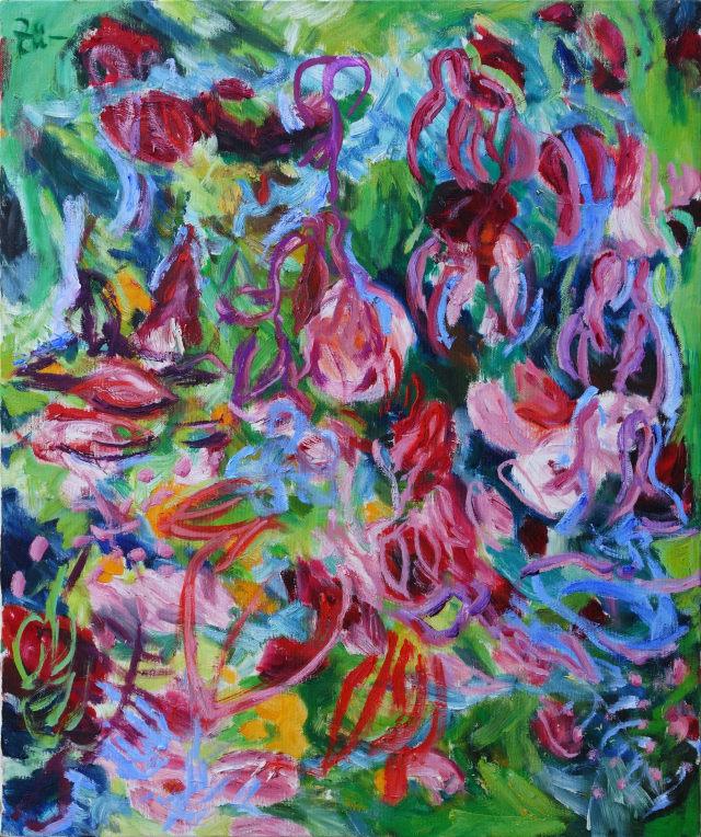 Hinrich Zürn, Blumen Rotlila Grün, Acryl auf Leinwand, 60 x 50 cm (copyright: Hinrich Zürn und galerie grandel)