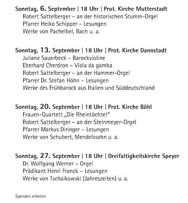 Musikalische Abendandachten ab 06. September 2020