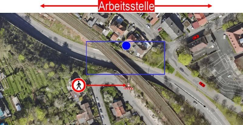 Die Arbeitsstelle an der Brücke im Schöntal (Foto: Stadtverwaltung Neustadt)