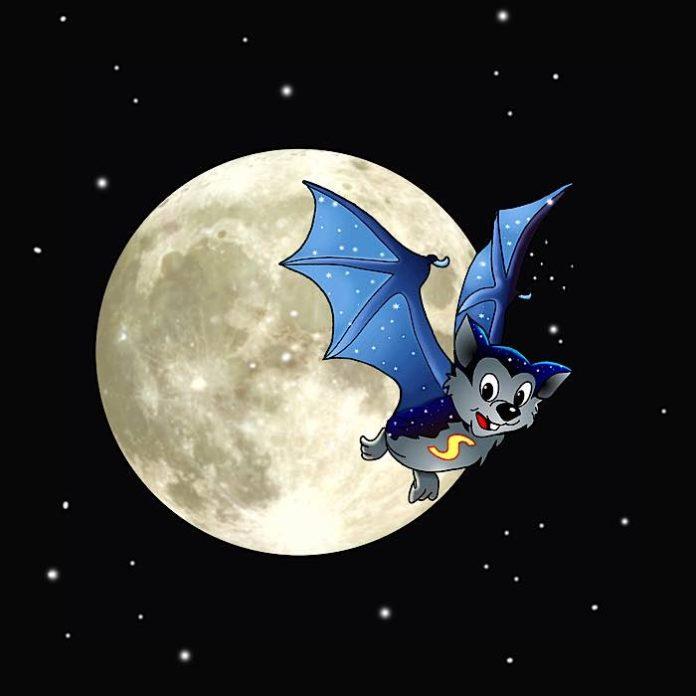 Die legendäre Fledermaus Skybat hilft Flappi bei der Suche nach dem Sternbild Fledermaus (Bildnachweis: Angelika Grothues, Illusions Bochum, und Thomas Niemann, Planetarium Erkrath)