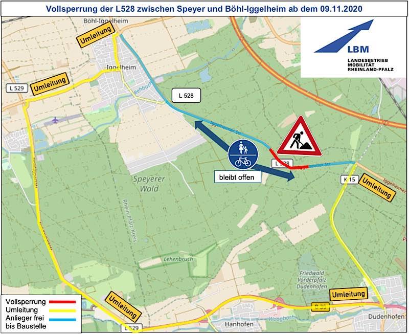 Karte mit dem gesperrten Bereich (Foto: LBM Speyer)
