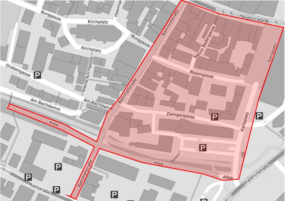 Skizze zur Allgemeinverfügung der Stadt Sinsheim (Quelle: Stadt Sinsheim)