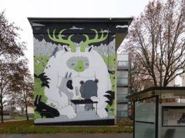 """Das neue Mural im """"Märchenwald"""" der Ludwigshafener Gartenstadt. (Foto: Wilhelm-Hack-Museum Ludwigshafen)"""