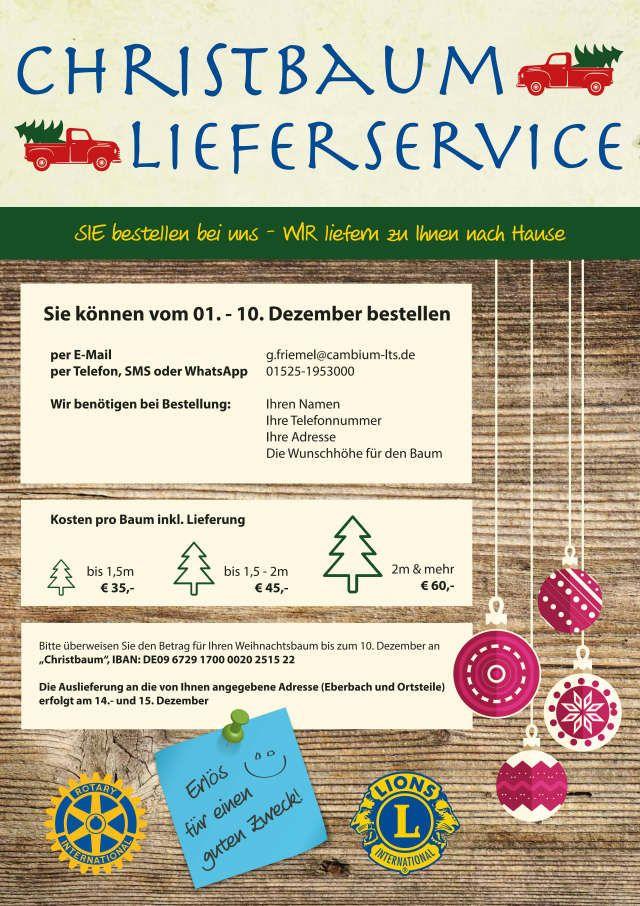 Christbaumlieferservice der Service Clubs Lions und Rotary