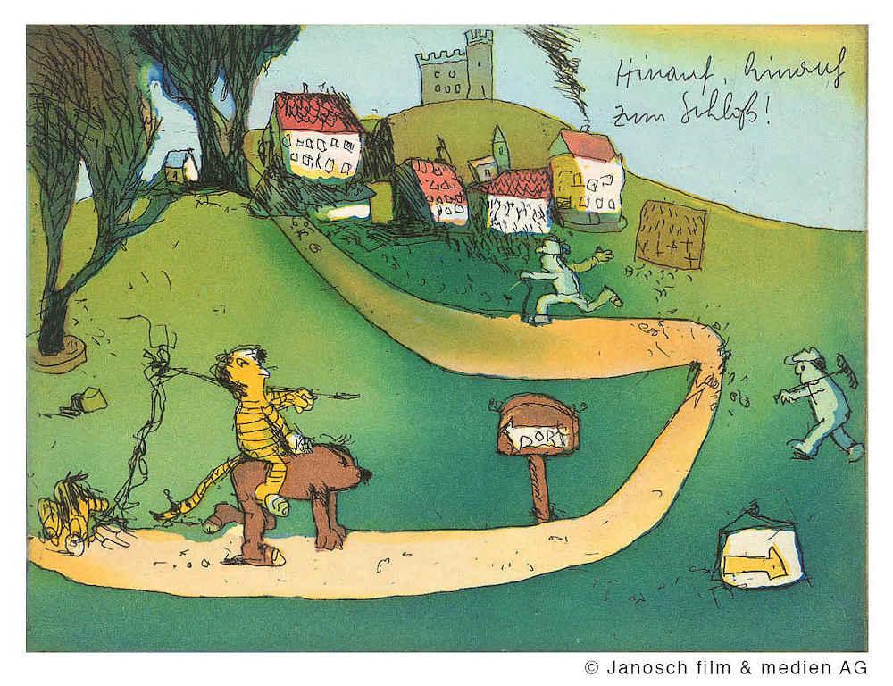 Tiger und Bär auf dem Weg hinauf, hinauf zum Schloss! (Quelle: Janosch film & medien AG, Berlin)