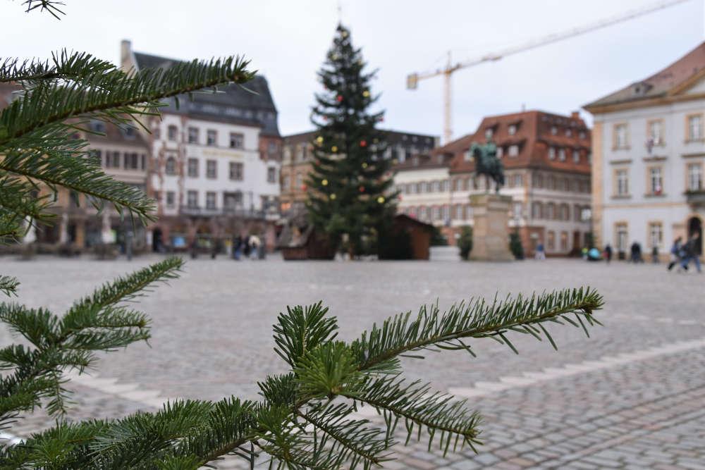 Der Blick auf den weihnachtlich geschmückten Landauer Rathausplatz. Hier findet an drei Donnerstagen im Dezember der neue Winterwochenmarkt statt. (Quelle: Stadt Landau)