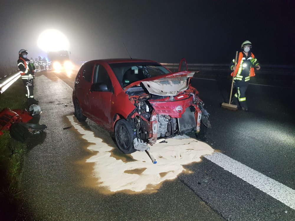 Verkehrsunfall auf der BAB 65 (Foto: Feuerwehr Neustadt)