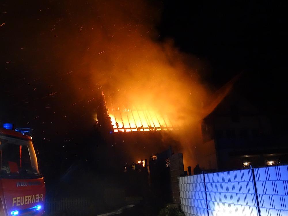 Vollbrand der Scheune (Foto: Feuerwehr VG Freinsheim)