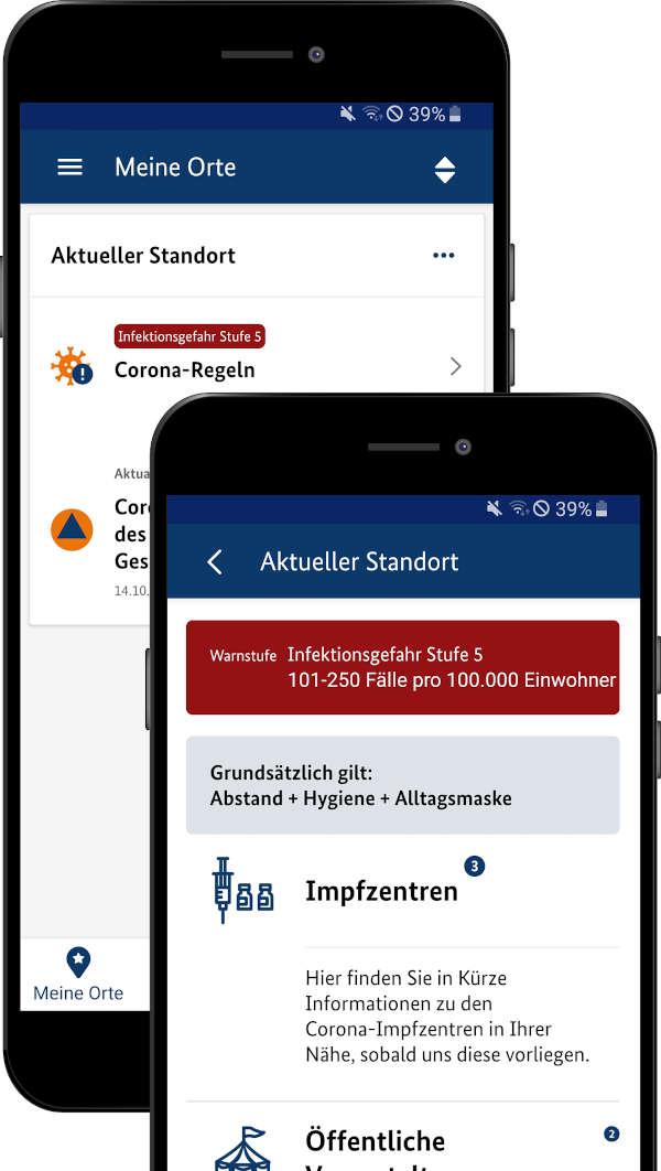 App NINA - lokale Corona-Infos (Quelle: BBK)