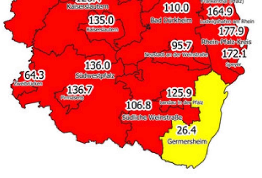 Inzidenzzahlen vom 07.01.2021 (Quelle: Landesuntersuchungsamt RLP)