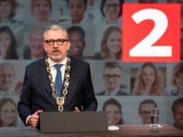 OB Dr. Peter Kurz bei seiner Rede anlässlich des Neujahrsempfangs 2021 (Foto: Stadt Mannheim/Andreas Henn)