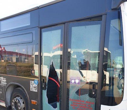 Beschädigte Eingangstüren an Bus (Foto: Polizei RLP)