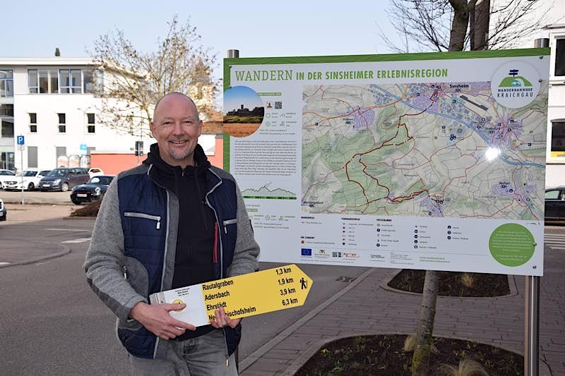 Michael Jerabek hat die Umsetzung der Wanderwegebeschilderung begleitet (Foto: Stadt Sinsheim)