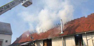 Worms-Abenheim - Feuer zerstört Scheune