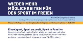 """""""Lockerungen""""; Grafik: Landessportbund Rheinland-Pfalz"""