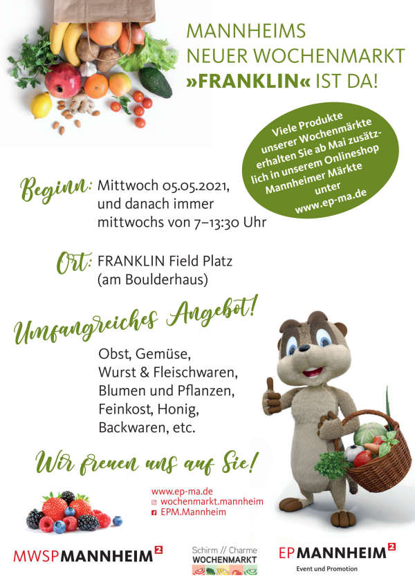 Wochenmarkt im Stadtteil Franklin (Quelle: Event & Promotion Mannheim)