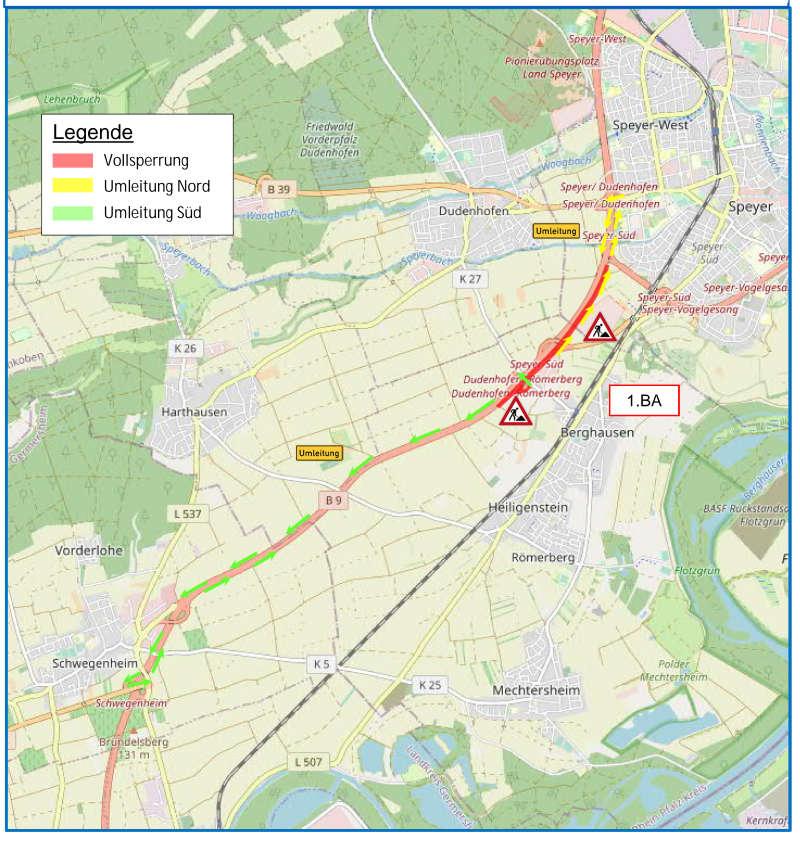 B9 - Fahrbahnerneuerung zwischen Römerberg und der B 39 (Foto: LBM Speyer)