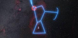Sternbild Orion - Beteigeuze ist mit einem roten Kreis markiert. (Bildnachweis: ESO/N. Risinger (skysurvey.org))