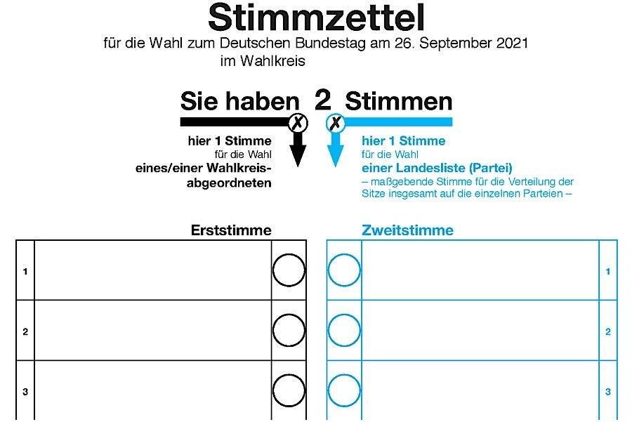 Symbolbild Stimmzettel für die Bundestagswahl 2021