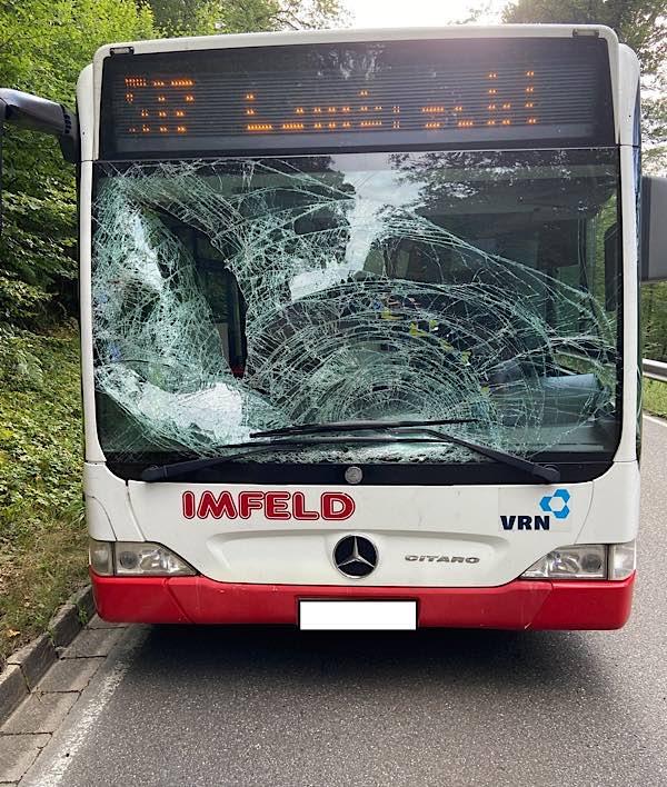 Der beschädigte Linienbus (Foto: Polizei RLP)