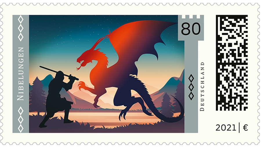 Briefmarke aus der Serie Deutsche Sagen und Abbildung des Stempelentwurfs
