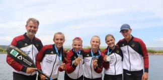 Fünf WM-Silbermedaillen für die Rheinbrüder Karlsruhe. Erfolgscoach Ralf Straub (v.l) mit den Medaillengewinnern: Katinka Hofmann, Xenia Jost, Gesine Ragwitz, Jette Brucker und Paul Grosser. (Foto: Rheinbrüder/Tirolf)