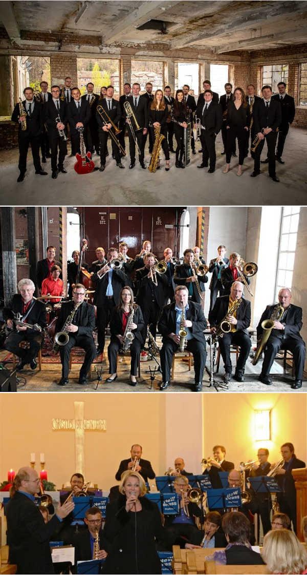 Die drei Neustadter BigBands: Allstar Big, Blue note BIG BAND, NeW Brass Big Band (Fotos: Orchester)