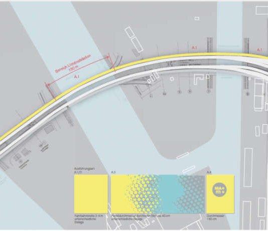 Die Neugestaltung des Fuß- und Radwegs auf der Kurt-Schumacher-Brücke soll zu einem neuen Fahrraderlebnis zwischen Mannheim und Ludwigshafen beitragen. Die Radroute soll unter anderem durch eine strahlende Bodenmarkierung besser sichtbar werden. (Quelle: Stadt Mannheim)