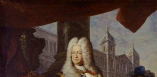 Kurfürst Karl Philipp mit dem Bauplan und vor der Fassade der Mannheimer Jesuitenkirche, 1727/28 (Quelle: rem, Foto: Jean Christen)